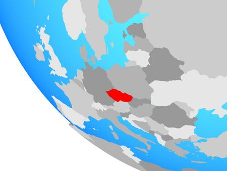 Czech republic on simple globe. 3D illustration.