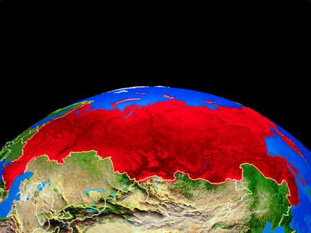 Russia on model of planet Earth with country borders and very detailed planet surface. 3D illustration.