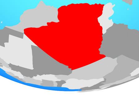 Algeria on simple political globe. 3D illustration.