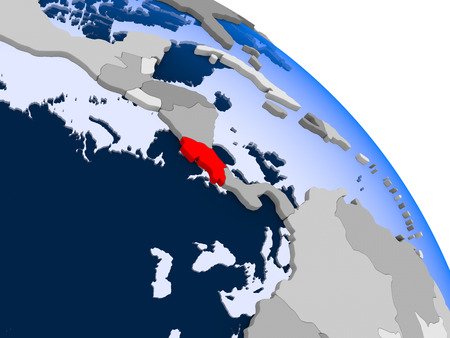 Illustration of Costa Rica highlighted in red on globe with transparent oceans. 3D illustration.