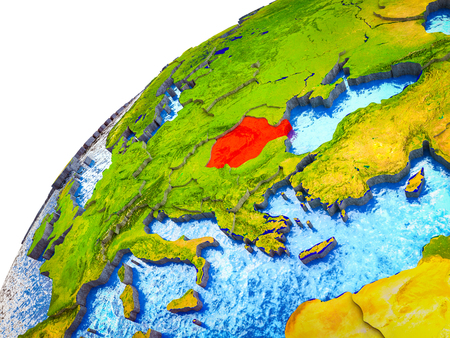 Romania on 3D Earth model with visible country borders. 3D illustration.