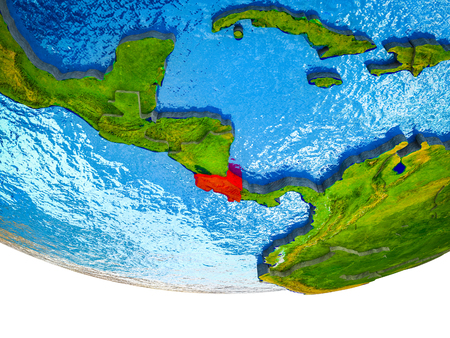 Costa Rica on 3D Earth with divided countries and watery oceans. 3D illustration. 版權商用圖片