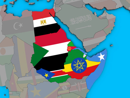 Northeast Africa with embedded national flags on blue political 3D globe. 3D illustration. Stockfoto