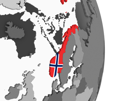 Norway on gray political globe with embedded flag. 3D illustration.