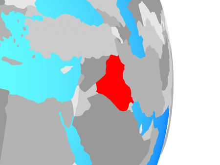 Iraq on simple political globe. 3D illustration. Stockfoto