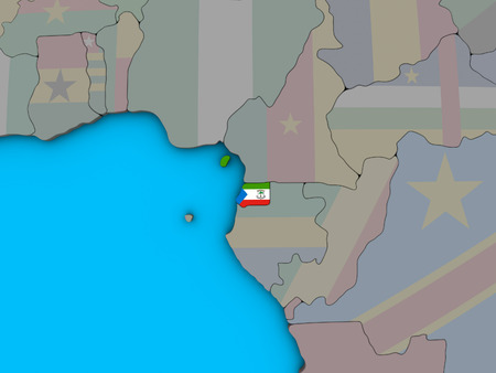 Equatorial Guinea with embedded national flag on blue political 3D globe. 3D illustration.