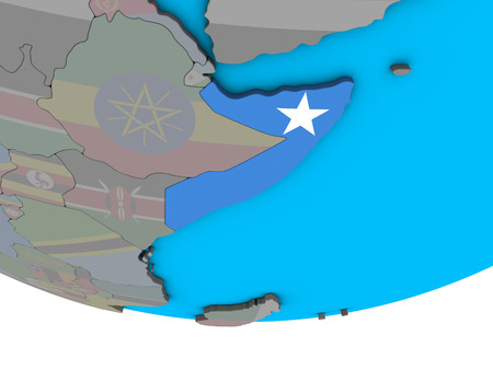 Somalia with embedded national flag on simple political 3D globe. 3D illustration.