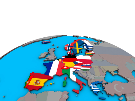 Schengen Area members with embedded national flags on political 3D globe. 3D illustration.