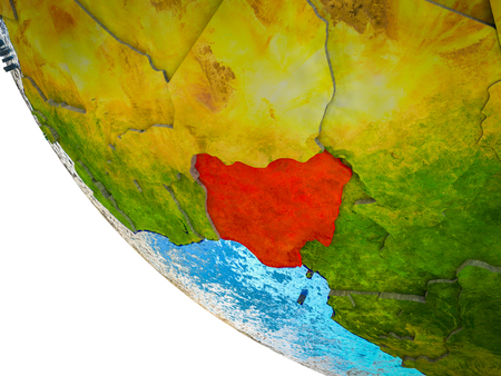 Nigeria on model of Earth with country borders and blue oceans with waves. 3D illustration.