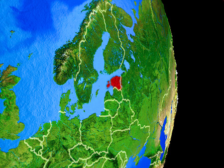 Estonia on realistic model of planet Earth with country borders and very detailed planet surface. 3D illustration.