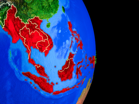 South East Asian member states on realistic model of planet Earth with country borders and very detailed planet surface. 3D illustration.