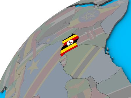 Uganda with national flag on 3D globe. 3D illustration.