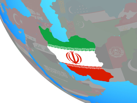 Iran with national flag on simple globe. 3D illustration. Stock Photo