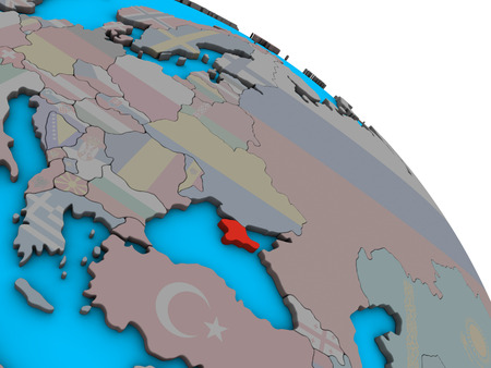 Crimea with embedded national flag on simple blue political 3D globe. 3D illustration.