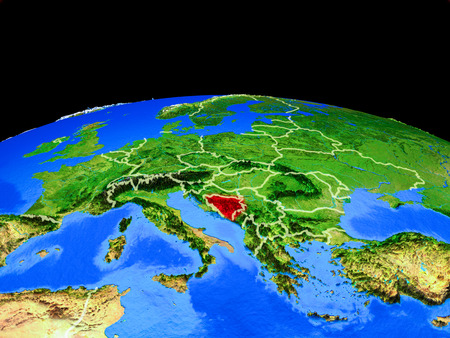 Bosnia and Herzegovina on model of planet Earth with country borders and very detailed planet surface. 3D illustration. Stock Photo