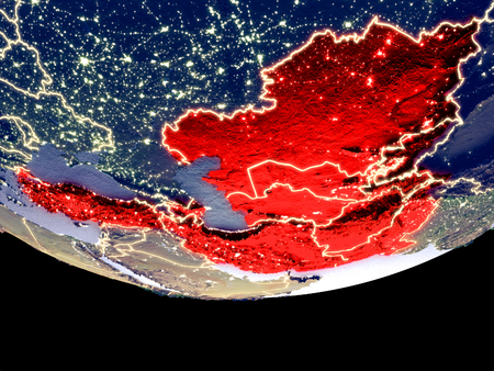 Satellite view of ECO member states from space at night. Beautifully detailed plastic planet surface with visible city lights. 3D illustration.