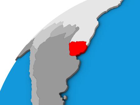 Uruguay on 3D globe. 3D illustration.