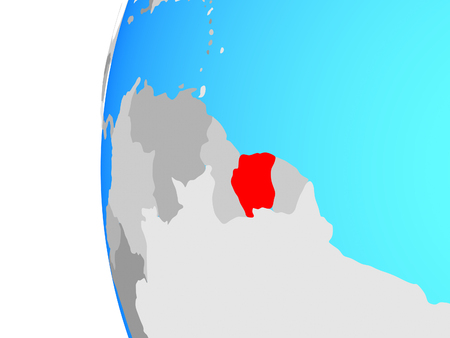 Suriname on blue political globe. 3D illustration.