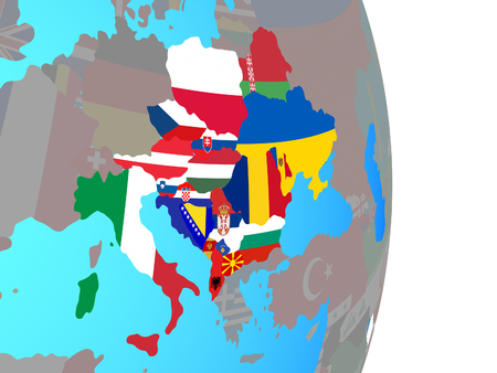 CEI countries with national flags on simple political globe. 3D illustration. 写真素材