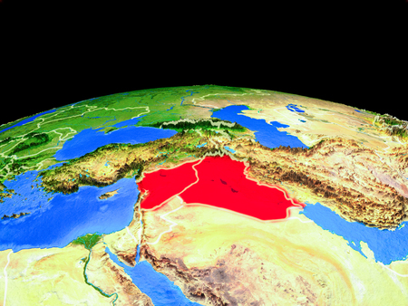 Islamic State on model of planet Earth with country borders and very detailed planet surface. 3D illustration.
