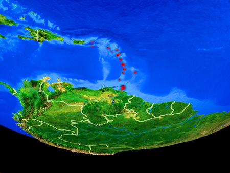 Caribbean from space on model of planet Earth with country borders. 3D illustration.
