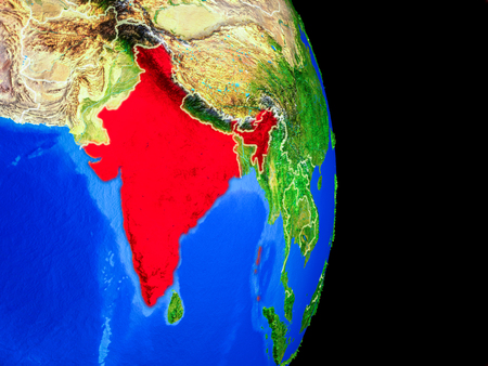 India on realistic model of planet Earth with country borders and very detailed planet surface. 3D illustration.