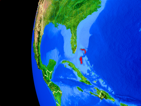 Bahamas from space on realistic model of planet Earth with country borders and detailed planet surface. 3D illustration.