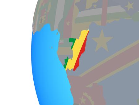 Congo with embedded national flag on blue political globe. 3D illustration. Standard-Bild - 113589234