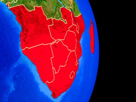 Southern Africa on realistic model of planet Earth with country borders and very detailed planet surface. 3D illustration.