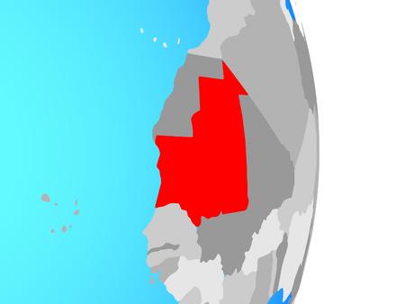 Mauritania on simple political globe. 3D illustration.