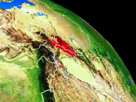 Kyrgyzstan on planet Earth from space with country borders. Very fine detail of planet surface. 3D illustration.