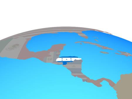 Honduras with national flag on political globe. 3D illustration.