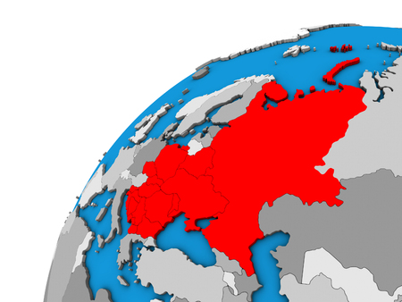 Eastern Europe on 3D globe. 3D illustration.
