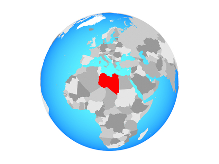 Libya on blue political globe. 3D illustration isolated on white background.