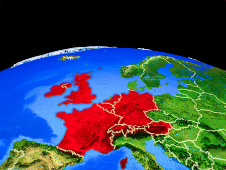 Western Europe on model of planet Earth with country borders and very detailed planet surface. 3D illustration. Banco de Imagens