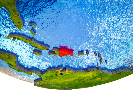 Dominican Republic on 3D Earth with divided countries and watery oceans. 3D illustration.