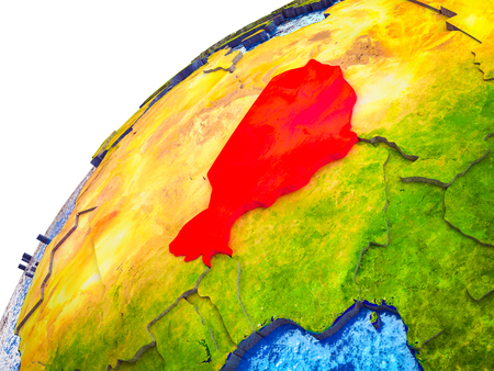 Niger on 3D Earth model with visible country borders. 3D illustration. Stock Photo