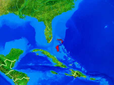 Bahamas from space on model of planet Earth with country borders and very detailed planet surface. 3D illustration.