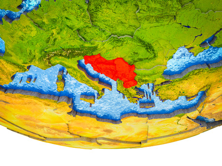 Former Yugoslavia on 3D Earth with divided countries and watery oceans. 3D illustration. Stock Photo