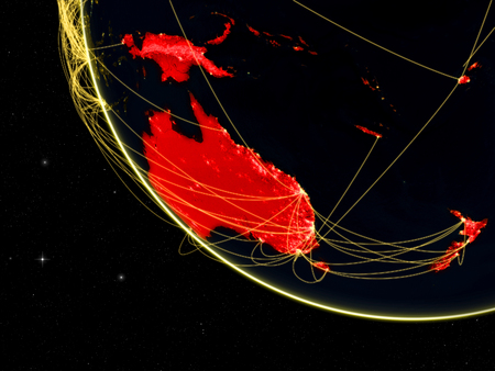 Australia on dark Earth with network. Concept of connectivity, internet or telecommunications. May also represent air traffic. 3D illustration.