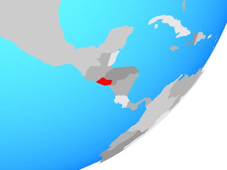 El Salvador on blue political globe. 3D illustration.