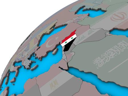 Syria with national flag on 3D globe. 3D illustration.