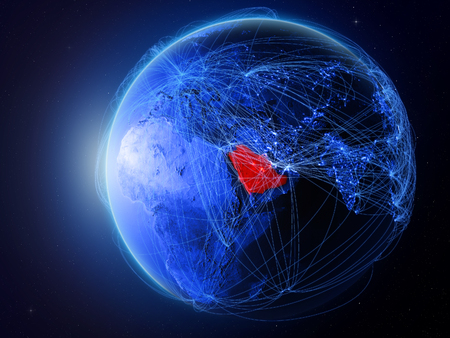 Saudi Arabia from space on planet Earth with blue digital network representing international communication, technology and travel. 3D illustration.