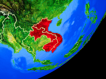 Indochina on planet Earth with country borders and highly detailed planet surface. 3D illustration.