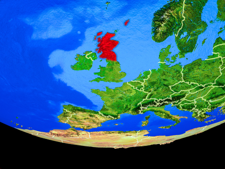 Scotland from space on model of planet Earth with country borders. 3D illustration. Stock Photo