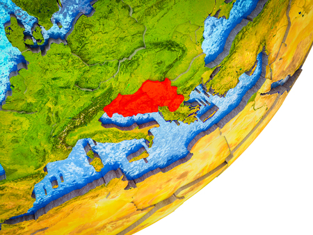Former Yugoslavia on 3D model of Earth with water and divided countries. 3D illustration.