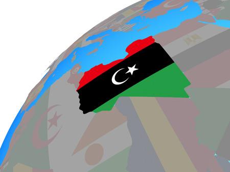 Libya with embedded national flag on globe. 3D illustration.