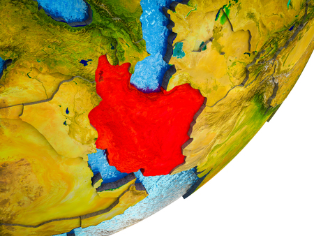 Iran on 3D model of Earth with water and divided countries. 3D illustration. 版權商用圖片