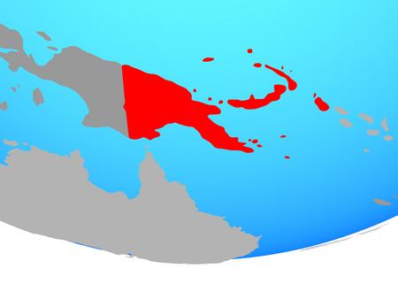 Papua New Guinea on simple political globe. 3D illustration.