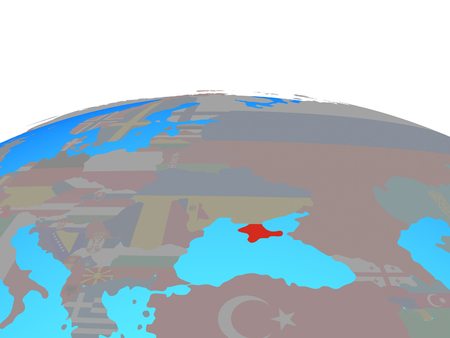Crimea with national flag on political globe. 3D illustration.